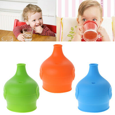 Baby Cup Cover Lid Drink Training Spill Proof Silicone Elephant Reusable Elastic