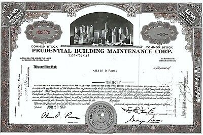 Prudential Building Maintenance Corp., Delaware, 1968 (30 Shares)