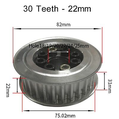 8M Timing Belt Pulley 30 Teeth, 22 - 32mm Teeth Width,18 to 28mm Hole, Select