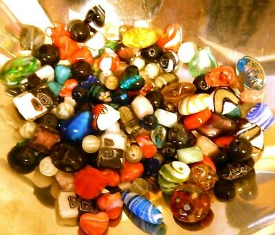 500 grams #1 (about 200 beads) mixed glass beads assorted colours and shapes