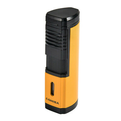 COHIBA Yellow Metal Cigar Cigarette Lighter 4 Torch Jet Flame Windproof