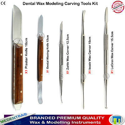 Dental Wax Carving Tools Waxing Knives Spatula Laboratory Mixing Carvers Set 5pc