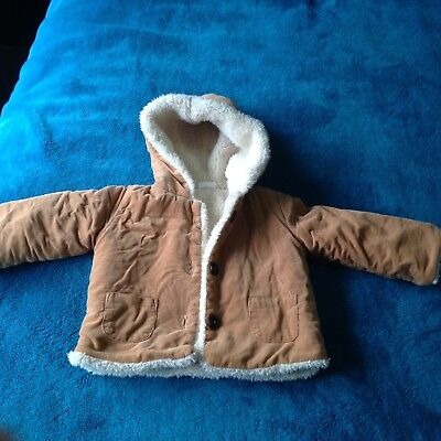 Jack & Milly Tan Corduroy Baby Boys Hooded Parka Jacket Sherpa Lined - Size 0