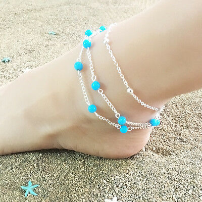 Womens Ankle Bracelet Silver Gold Plated Sterling Anklet Foot Chain Beach Bead N