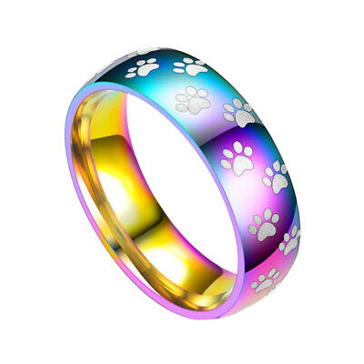 1PC Rainbow Color Stainless Steel Ring Pet Paw Print Dog Cat Band for Women Men