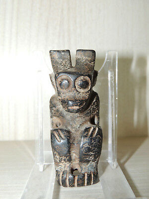 Antique Carved Stone Idol figure statuette,god,alien,Amulet from Mongolia