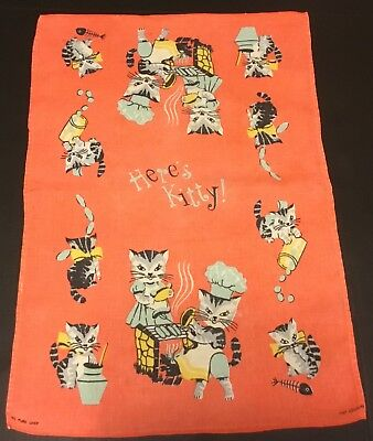 "VTG Pure Linen Kitchen Tea Towel ""Here's Kitty"" Adorable Cats Cooking Barbeque"