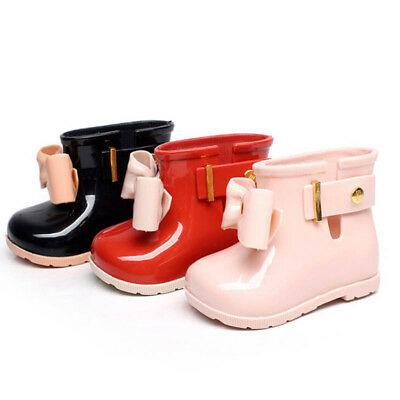AU Baby Kids Girls Bow Jelly Rainshoes Rain Boots Princess Slip-On Rubber Shoes