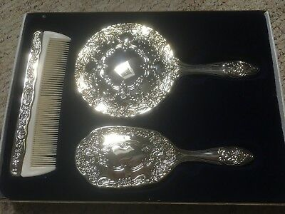 newSilver-Plated-Mirror-Brush-and-Comb-Vanity-Set