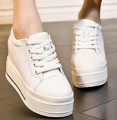 Womens Platform Round  Toe Lace Up Casual Trainers Sneakers Occupational Shoes