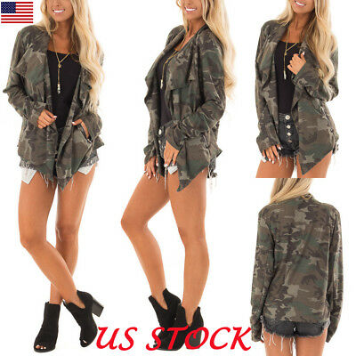 Women Lapel Camouflage Print Cardigan Coat Cool Jacket Autumn Fashion Outwear US
