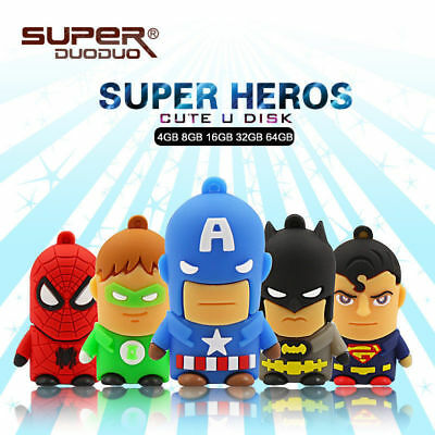 New Cute Cartoon Superheroes Flash Drive Storage Gift Memory Stick Pen USB 2.0
