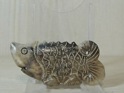 Antique Mongolian Carved Stone Fish figure statuette,idol,god,Amulet