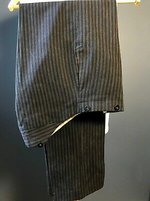 Vintage 1920's bespoke flat fronted morning trousers size 32