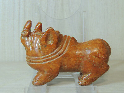 Antique Mongolian Carved Stone Zoomorphic Rino figure statuette,Idol,god,Amulet