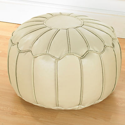 Taupe Luxury Faux Leather Moroccan Bean Bag Footstool Pouffe With Piped Edges