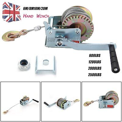 Manual Hand Winch 600lbs Boat Trailer Caravan 12m 39ft Cable Length Marine Pull