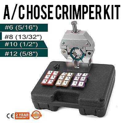 71550 Manually Operated A/C Hose Crimper Tool Kit W/ 4 Dies New Local Hand