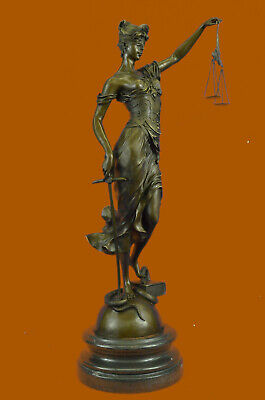 Bronze Sculpture Large Blind Justice Lady Law Decoration Scale Sword Handmade