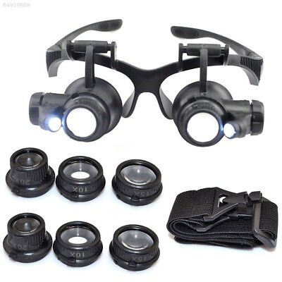 FB69 Watch Repair Magnifier Double Eye Glasses Loupe With LED 8 Lens Black