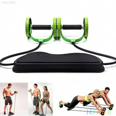 1B2A Dual Wheels Roller Elastic Abdominal Resistance Pull Rope Belly Gym Fit Tra