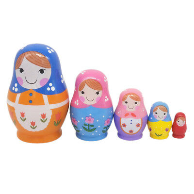 5Pcs/Set Cute Babushka Nesting Dolls Matryoshka Wooden Russian Painted Doll Toy