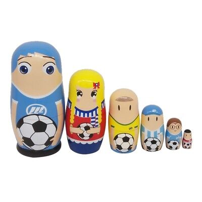 6Pcs Soccer Players Pattern Nesting Dolls Toys for Little Kids Hand Painted Toys