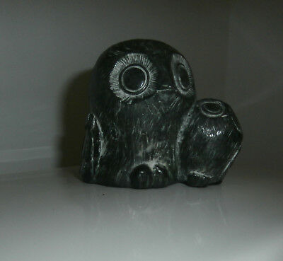 "A Wolf Original Owl and Owlet baby hand made Canada black 3"" tall Soapstone"