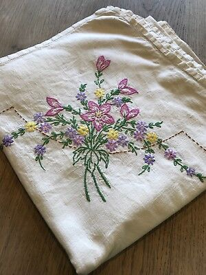"Beautiful Vintage Antique Linen Ecru Hand Embroidered Table Cloth - 50"" Square"