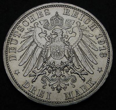 PRUSSIA (German State) 3 Mark 1913A - Silver - 25th Year of Reign - VF/XF - 2913