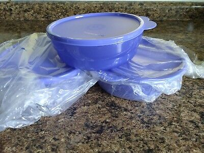 New TUPPERWARE Microwave Reheatable Cereal Bowls Set of 3 ~ Blue!