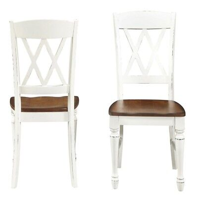 Dining Chair X-Back White Wood Double Intricate Carved Side Stools Seat 2 Set
