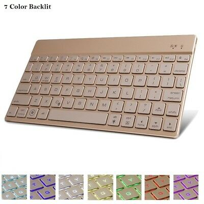 7 Color Backlit Ultra Slim Bluetooth 3.0 Keyboard for Microsoft Surface Pro 4