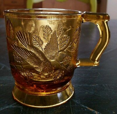 Vintage Mosser Footed Amber Pressed Glass Cup Mug Embossed Birds Branches Leaves