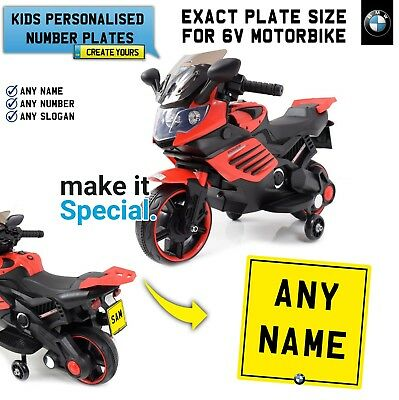 Ride On Motorbike Personalised Number Plate For Kid Electric Bmw Bike Exact Size