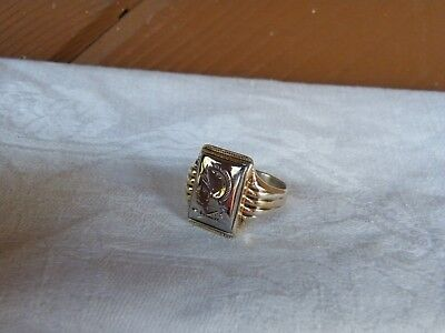 Vintage Solid 18K White Gold Intag,10K(gf)Shank Men Ring SZ9 Sterling