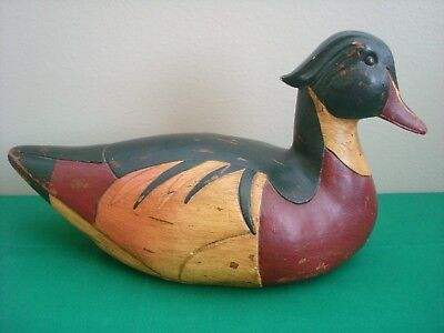 Vintage Wooden Wood Duck Carved Hand Painted Hunting Cabin Decor Giftcraft