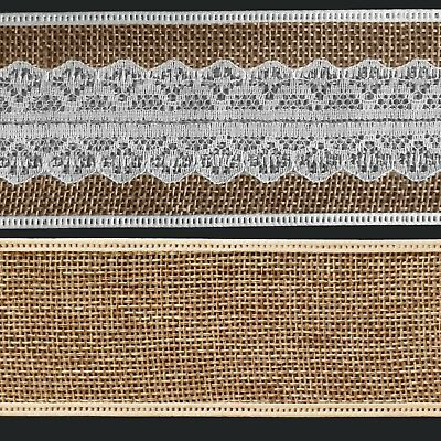 Hessian Burlap natural Jute Ribbon with Lace Vintage gift wrapping