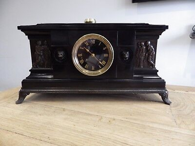 French Black Marble And Bronze Mantle Clock Fully Restored Movement Circl 1850