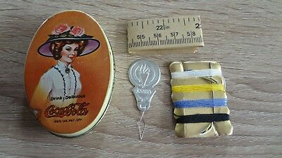 Vintage Coca Cola Small Tin Sewing Kit! Unused! 1980's Coke Collectible