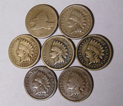 Lot of 7 Cents 1858 Flying Eagle 1859 1860 1862 1863 1864 1865 Indian (101218)
