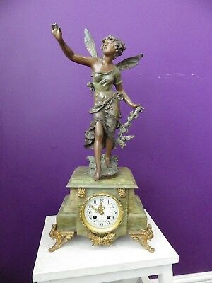 French Large Figure Mantle Clock Fully Restored Movement Green Onyx Case 1980s