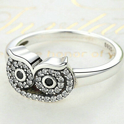 Women Ancient Silver Alloy Owl Shape Ring Finger Closed Ring Charm Jewelry CB