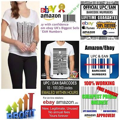1000 X Ean Upc Barcodes Numbers For ebay Google  Amazon Unique Number Lifetime