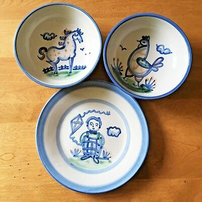 Lot 3 M A Hadley Pottery Luncheon Plate Boy Soup Bowls Horse Chicken