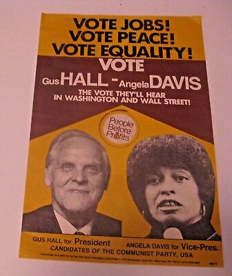 Vintage 1980 / 84 Gus Hall For President Angela Davis Communist Political Poster