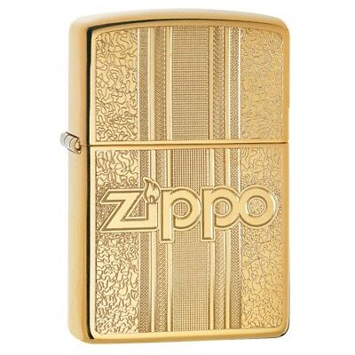 "Zippo ""Textures"" High Polish Brass Finish Lighter, Full Size, 29677"