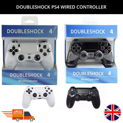 Brand New Doubleshock Sony Ps4 Wired Controller With Led Indicator Black/white
