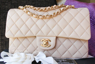 960d5f719370ff NEW CHANEL BEIGE Clair Classic Double Flap Bag Gold Hw #16517430 ...