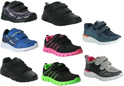 Kids Boys Girls Touch Strap Lace Up Sports School Black Children Trainers Shoes